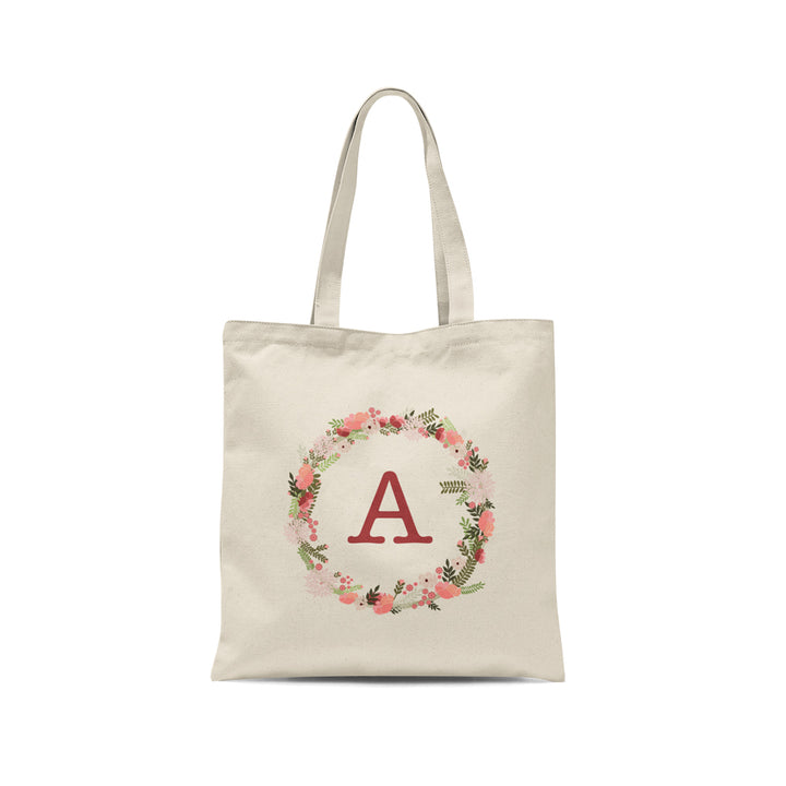 Personalized Initial Pink Floral Wreath Tote Bag