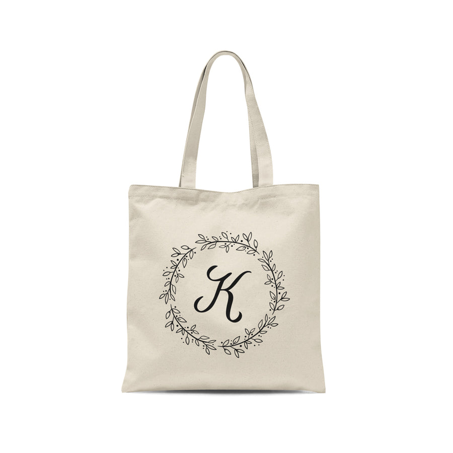 Personalized Initial Floral Wreath Tote Bag