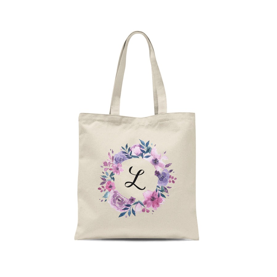 Personalized Initial Watercolor Floral Wreath Tote Bag