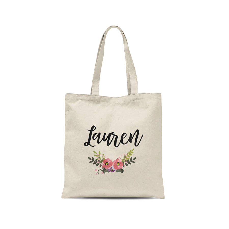 Personalized Name Floral Tote Bag