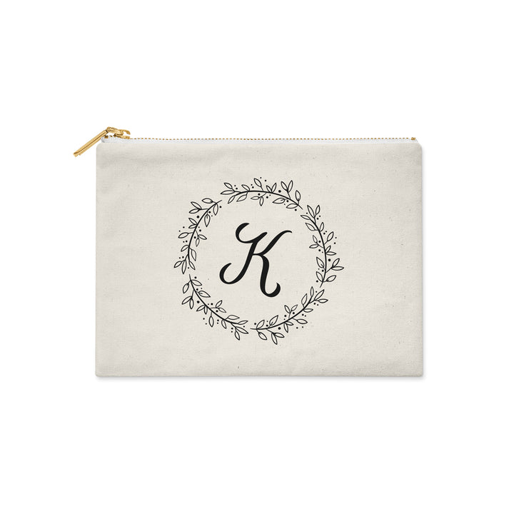 Personalized Initial Floral Wreath Make Up Bag