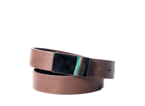 BUCKLE LEATHER BELT BROWN