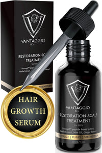 Hair Growth Serum and Scalp Treatment - Hair Loss Treatments for Men – Thickening DHT Blocker Fight Thinning and Alopecia - Contains Ginger Castor Oil Aloe Vera and Peppermint - 1oz