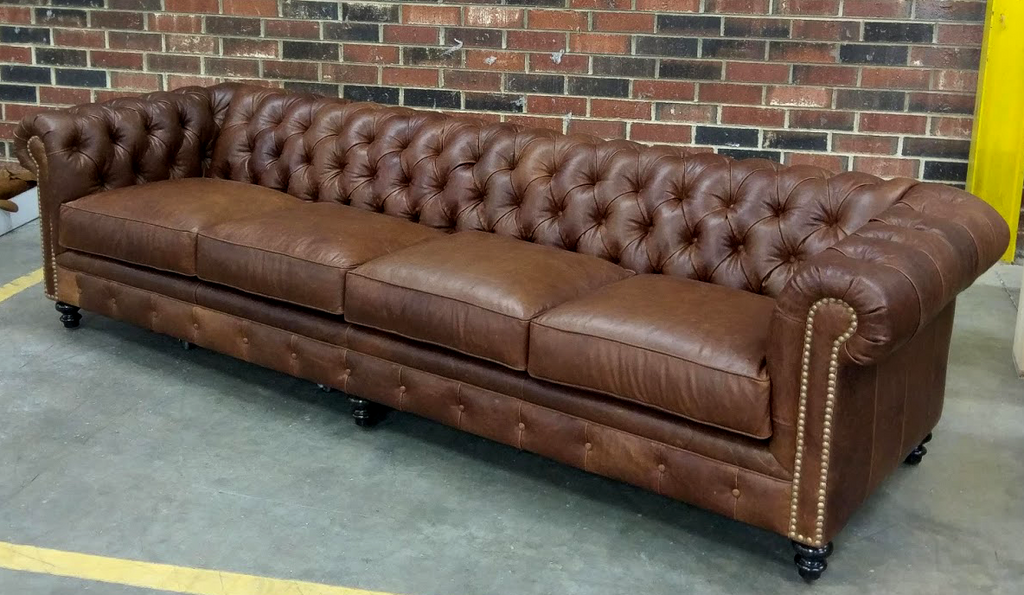 607-04 Louise Leather Chesterfield Sofa