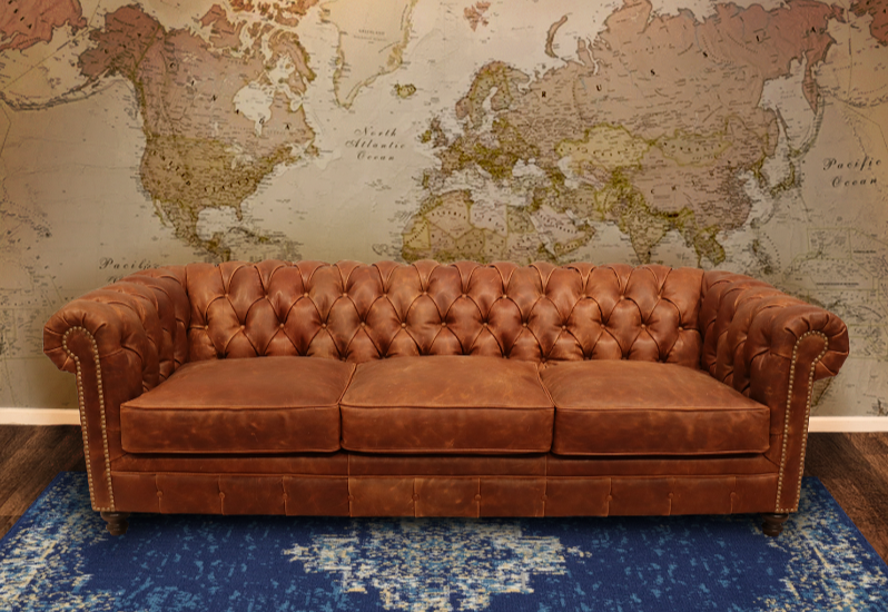 607-03 Louise Leather Chesterfield Sofa