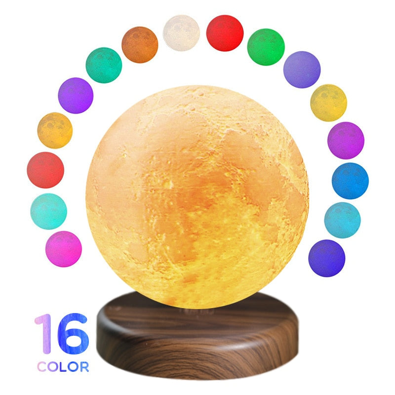 Maglev LED moon night light 3D Print Moon Lights 16 Colors Novelty Creative Moon Night Light Lamp Magnetic levitation rotation - Somehow Summer