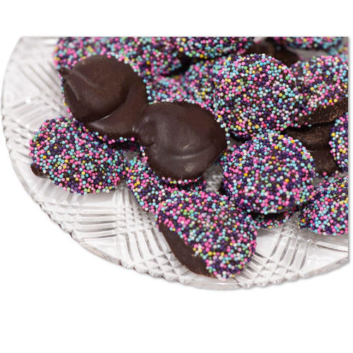 Dark Chocolate Easter Non Pareils (Loose) (Half Pound Box) - Conrad's Confectionery