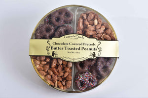 Milk Chocolate Covered Pretzels & Butter Toasted Peanuts in Round Box (10oz)