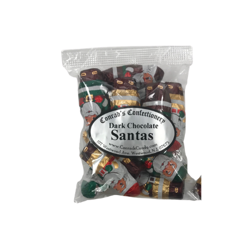 Dark Chocolate Foiled Santas- 4 oz bag