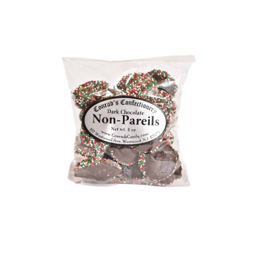 Dark Chocolate Christmas Non Pareils- 4 oz bag