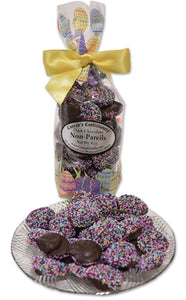 Dark Chocolate Easter Non Pareils, Fancy Bag (8 oz) - Conrad's Confectionery