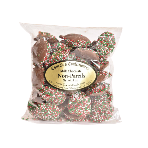 Milk Chocolate Christmas Non Pareils- 8 oz bag