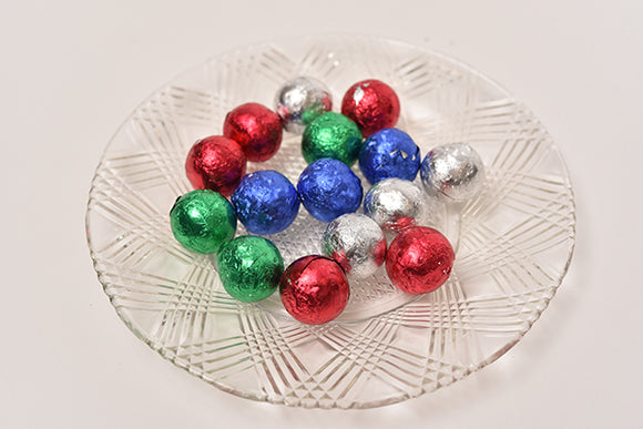 Loose Dark Chocolate Foil Ornaments  (Half Pound Box) - Conrad's Confectionery