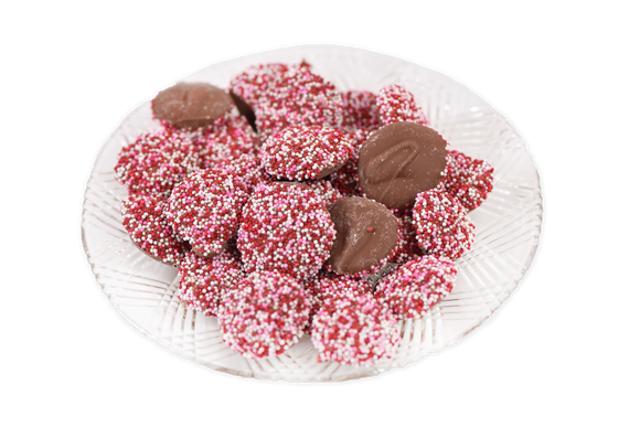 Milk Chocolate Valentine's Non-Pareils (Half Pound Box) - Conrad's Confectionery