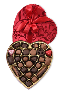 35 Piece Milk and Dark Chocolate Valentine's Day Assortment in Red Ivy Heart Shaped Box