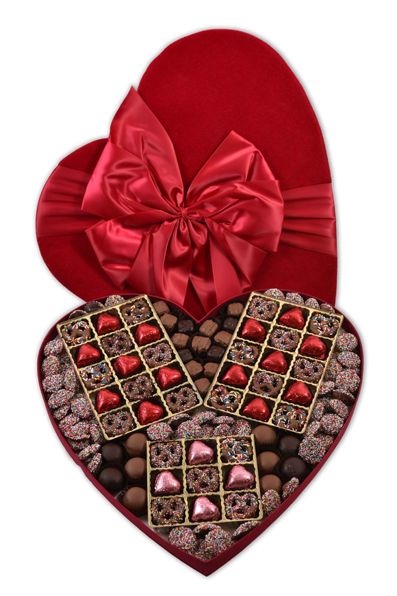 145 Piece Dark Chocolate Valentine's Day Assortment in Red Plush Heart Shaped Box