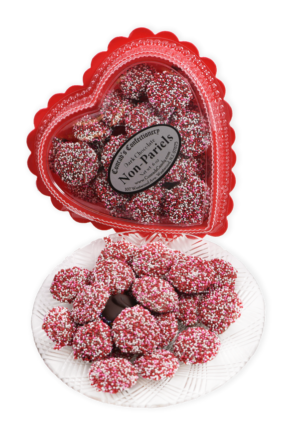 Valentine's Day Dark Chocolate Non-Pareils in Clear Plastic Heart Shaped Box (6oz)