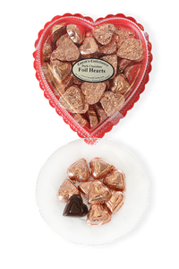 Valentine's Day Dark Chocolate Foil Wrapped Hearts in Clear Plastic Heart Shaped Box (10oz) - Conrad's Confectionery
