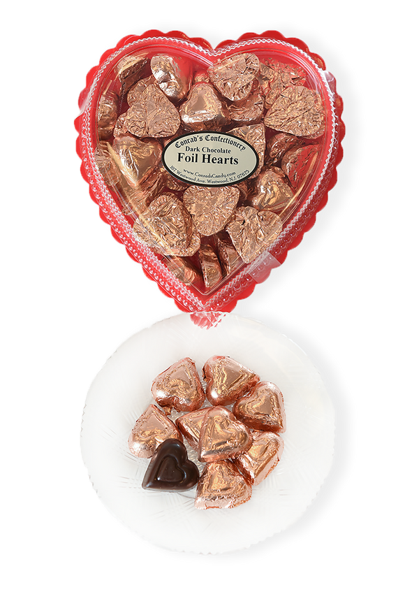 Valentine's Day Dark Chocolate Foil Wrapped Hearts in Clear Plastic Heart Shaped Box (10oz)