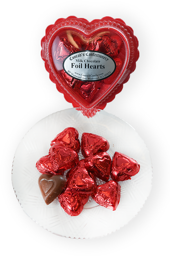 Valentine's Day Milk Chocolate Foil Wrapped Hearts in Clear Plastic Heart Shaped Box (2oz) - Conrad's Confectionery