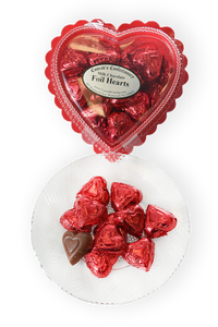 Valentine's Day Milk Chocolate Foil Wrapped Hearts in Clear Plastic Heart Shaped Box (6oz) - Conrad's Confectionery