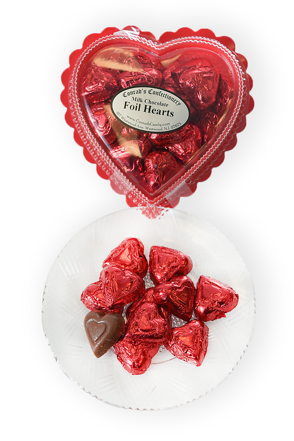 Valentine's Day Milk Chocolate Foil Wrapped Hearts in Clear Plastic Heart Shaped Box (6oz)