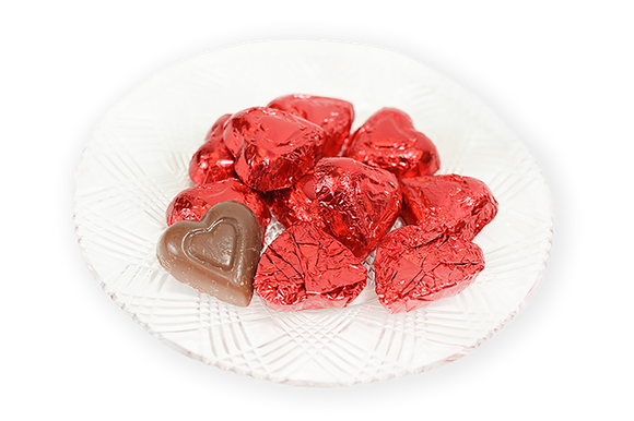 Valentine's Day Milk Chocolate Red Foil Hearts (Half Pound Box) - Conrad's Confectionery