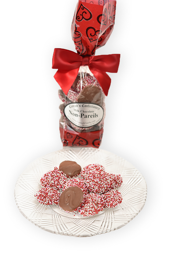 6 oz Milk Chocolate Valentine's Day Non-Pareils - Conrad's Confectionery