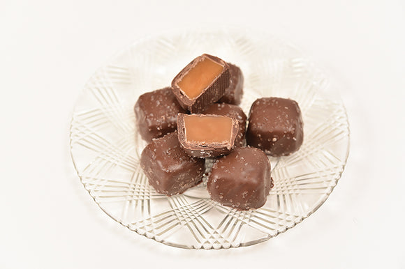 Sugar Free Milk Chocolate Sea Salt Caramels (Half Pound Box)