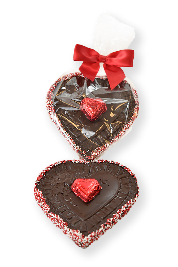 Valentine's Day Dark Chocolate Heart in Cellophane Bag