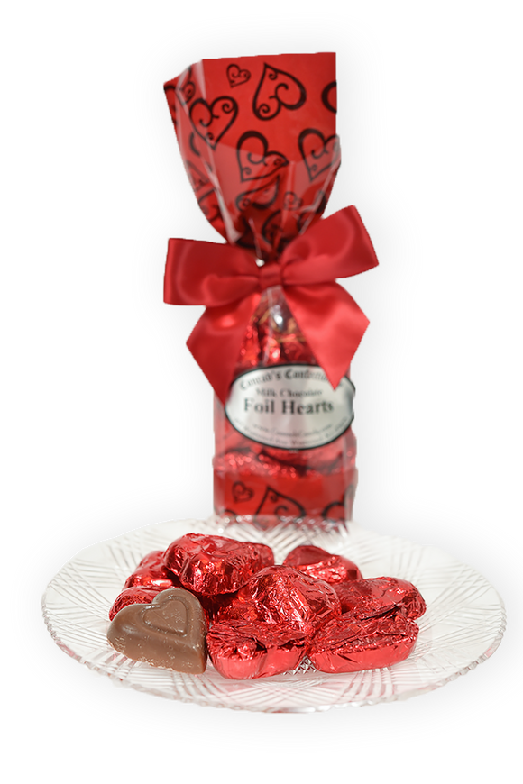 Milk Chocolate Foil Hearts (6oz) - Conrad's Confectionery