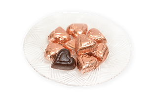 Valentine's Day Dark Chocolate Pink Foil Hearts (Half Pound Box) - Conrad's Confectionery