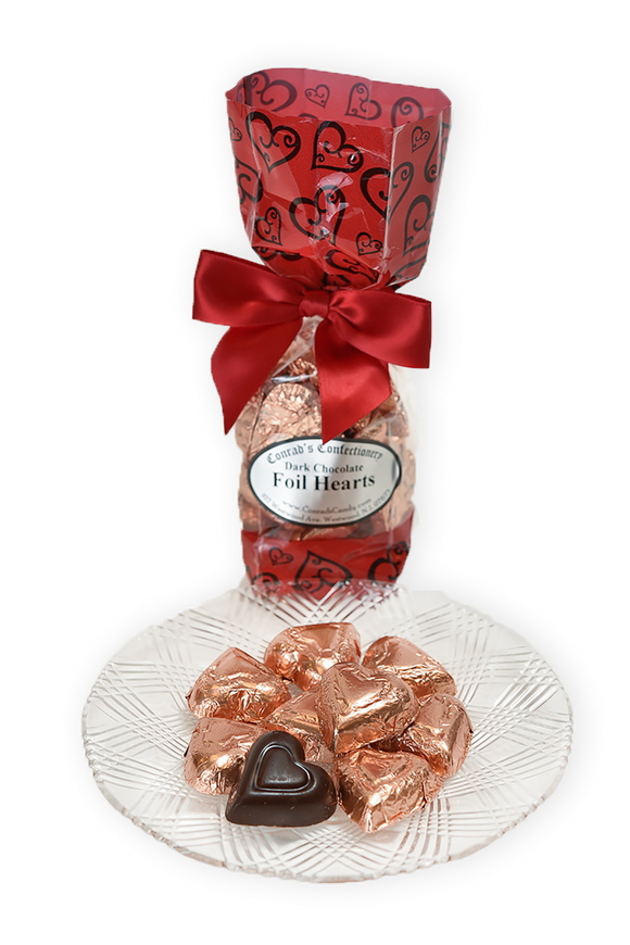 Dark Chocolate Foil Hearts (6oz) - Conrad's Confectionery