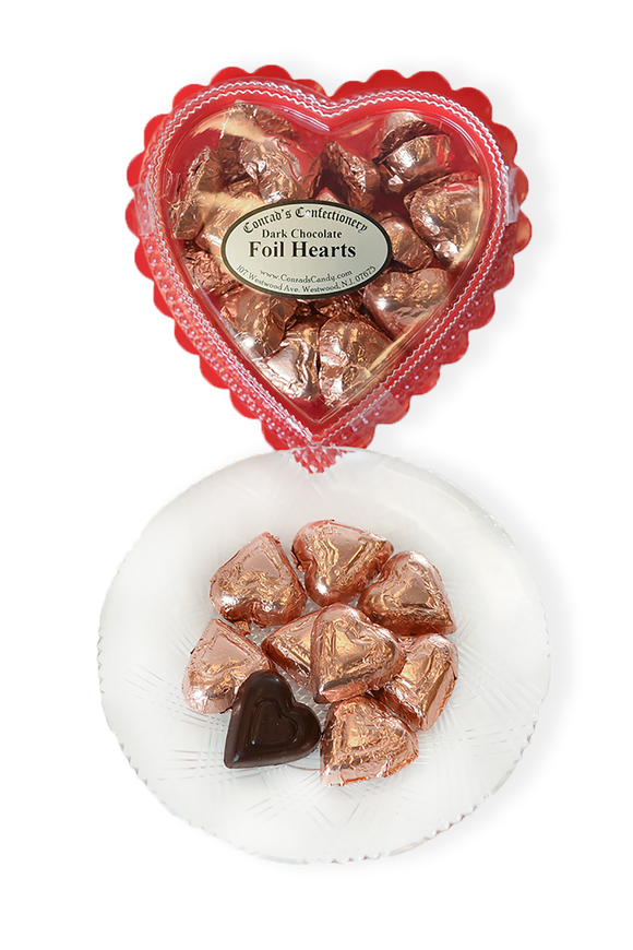 Valentine's Day Dark Chocolate Foil Wrapped Hearts in Clear Plastic Heart Shaped Box (6oz) - Conrad's Confectionery