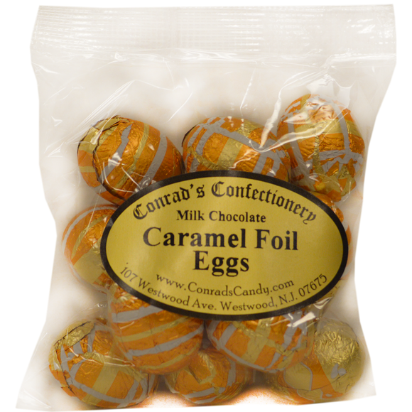 Milk Chocolate Foil  Caramel Eggs- 4 oz bag
