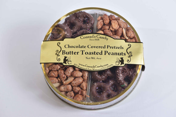 Milk Chocolate Covered Pretzels & Butter Toasted Peanuts in Round Box (6oz)