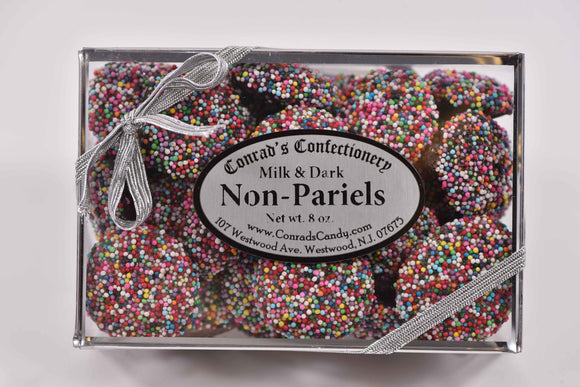 Milk & Dark Chocolate Non-Pariels Decorative Silver Box - Conrad's Confectionery
