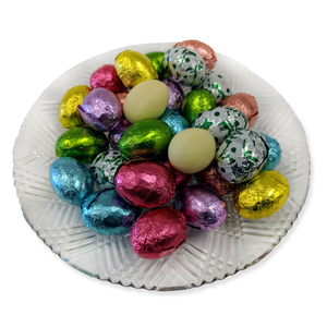 Ivory Chocolate Foiled Eggs (loose) (Half Pound Box)