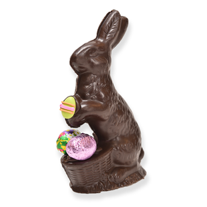 "6"" Dark Chocolate Easter Bunny # 91 - ""Sm Sitter w/ Basket"""