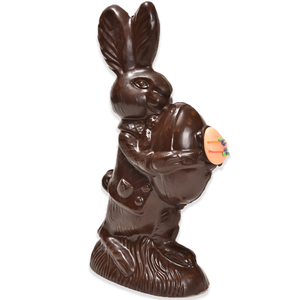 "11"" Dark Chocolate Easter Bunny # 99 Daphne - ""Medium Bunny Holding Egg"""