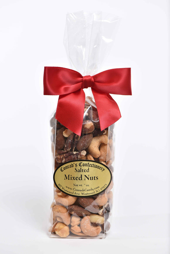 Bag of Salted Mixed Nuts in Flat Bottom Bag - Conrad's Confectionery