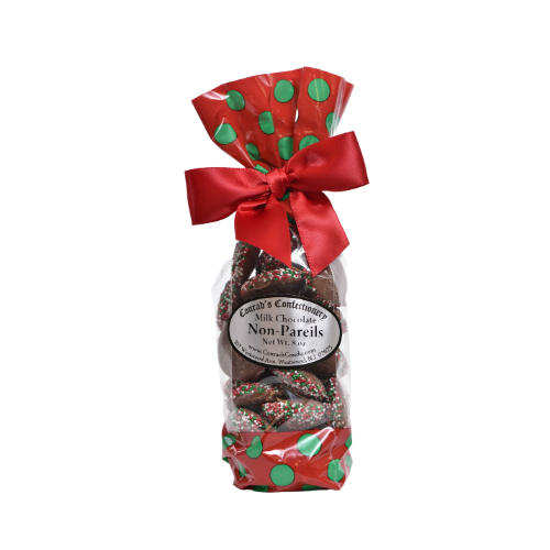 Milk Chocolate Christmas Non-Pareils Fancy Bag- 8 oz bag