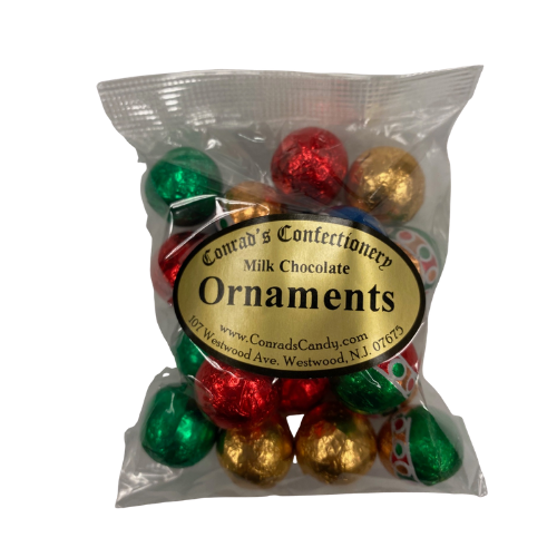 Milk Chocolate  Foiled Ornaments- 4 oz bag