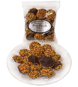Dark Chocolate Fall Non-Pareils (4 oz) - Conrad's Confectionery