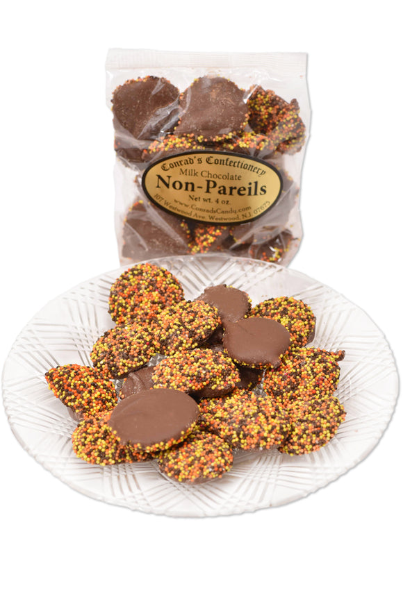 Milk Chocolate Fall Non-Pareils (4 oz) - Conrad's Confectionery