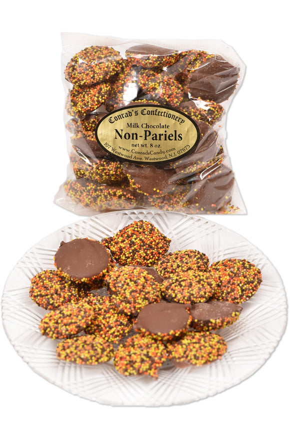 Milk Chocolate Fall Non-Pareils (8 oz) - Conrad's Confectionery