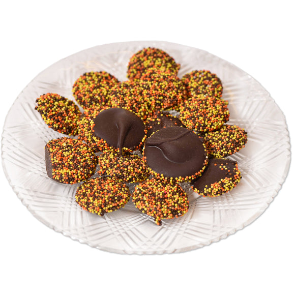 Dark Chocolate Fall Non-Pareils (Half Pound Box) - Conrad's Confectionery