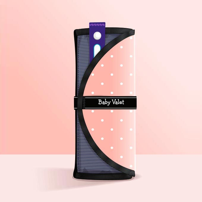 Baby Valet™ in Pink Polka Dot • Outfit Organizer & Wet Bag • All-In-One Roll • Gender-Neutral Baby Shower Gift
