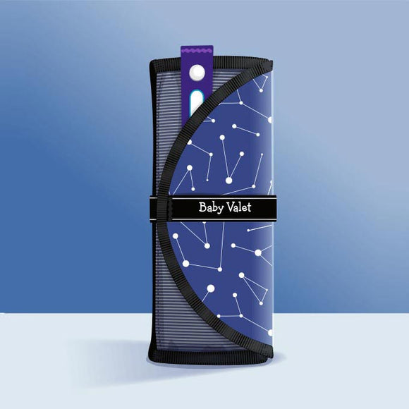 Baby Valet™ in Stellar (Space Constellations) • Outfit Organizer & Wet Bag • All-In-One Roll • Gender-Neutral Baby Shower Gift