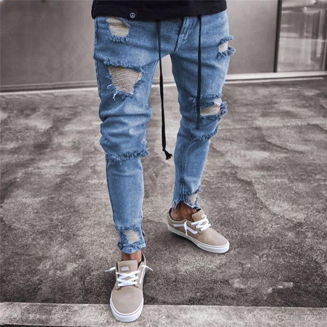 Men's Fashion Destroyed Vintage Jeans